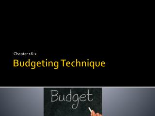Budgeting Technique