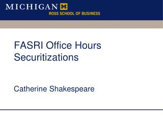 FASRI Office Hours Securitizations