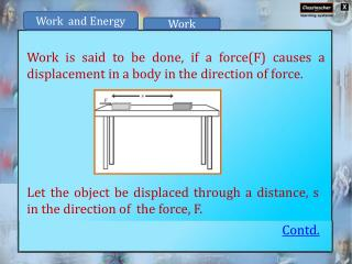 Work is said to be done, if a force(F) causes a displacement in a body in the direction of force.