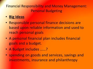 Financial Responsibility and Money Management: Personal Budgeting