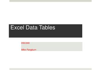 Excel Data Tables