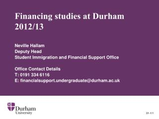 Financing studies at Durham  2012/13