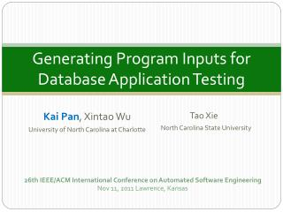 Generating Program Inputs for  Database Application Testing