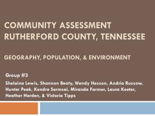 Community Assessment Rutherford County, Tennessee Geography, Population, & Environment