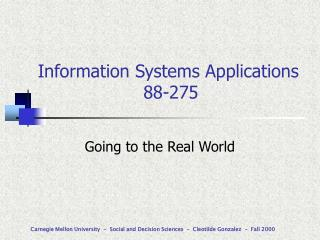 Information Systems Applications                    88-275