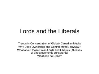Lords and the Liberals