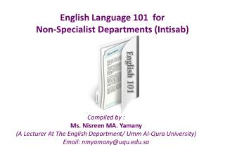 English Language 101   for  Non-Specialist  Departments ( Intisab )