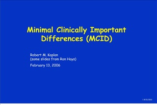 minimal clinically important differences mcid