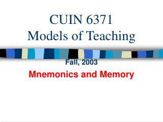 CUIN 6371 Models of Teaching