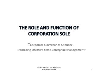 THE ROLE AND FUNCTION OF CORPORATION SOLE