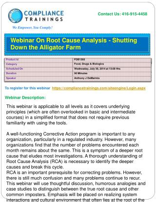 Webinar On Root Cause Analysis - Shutting Down the Alligator