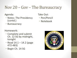 Nov 20  –  Gov  – The Bureaucracy