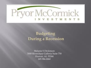 Budgeting  During a Recession