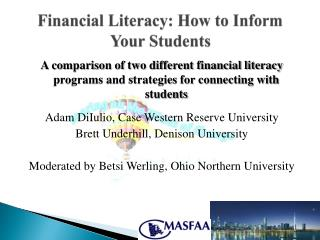 Financial Literacy: How to Inform Your Students