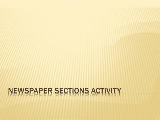 Newspaper Sections Activity