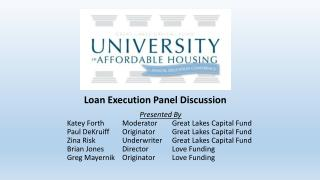 Presented By 	Katey Forth	    Moderator	     Great Lakes Capital Fund