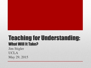 Teaching for Understanding: What Will It Take?