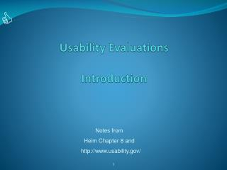 Usability Evaluations Introduction