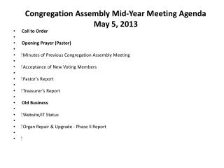Congregation Assembly Mid-Year Meeting Agenda May 5, 2013