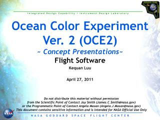 Ocean Color Experiment Ver. 2 (OCE2) ~  Concept Presentations ~