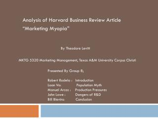 "Analysis of Harvard Business Review Article  ""Marketing Myopia"""