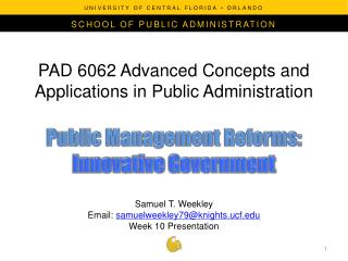 PAD 6062 Advanced Concepts and Applications in Public Administration