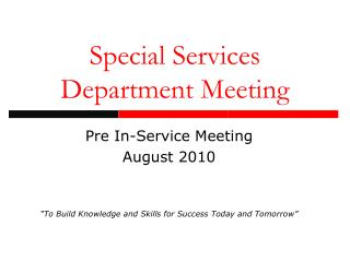 Special Services Department Meeting
