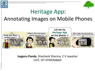 Heritage App :  Annotating Images on Mobile Phones
