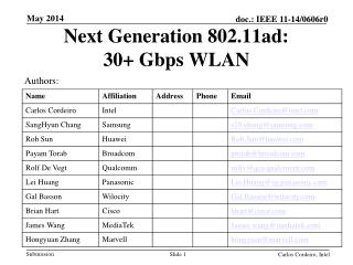 Next Generation 802.11ad: 30+  Gbps  WLAN