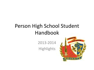 Person High School Student Handbook