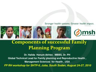 Components of successful Family Planning Program