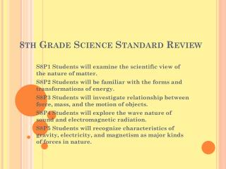 8th Grade Science Standard Review