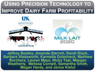Using Precision Technology to Improve Dairy Farm Profitability