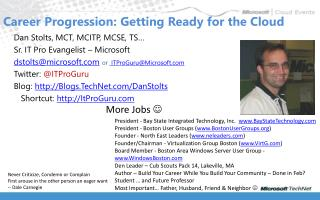 Career Progression: Getting Ready for the Cloud