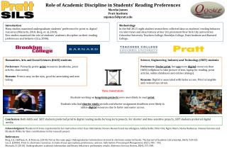 Role of Academic Discipline in Students' Reading Preferences Marsha James Pratt Institute mjames5@pratt.edu
