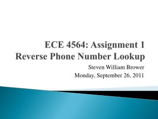 ECE 4564: Assignment 1 Reverse Phone Number Lookup