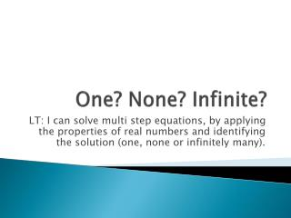 One? None? Infinite?