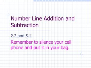 Number Line Addition and Subtraction