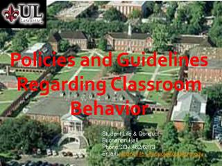 Policies and Guidelines Regarding Classroom Behavior