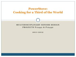 PowerStove:  Cooking for a Third of the World