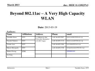 Beyond 802.11ac – A Very High Capacity WLAN