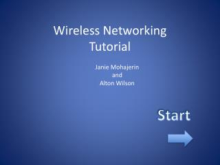 Wireless Networking Tutorial