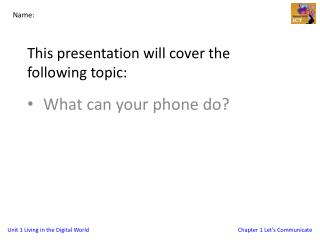 This presentation will cover the following topic: