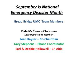 September is National  Emergency Disaster Month