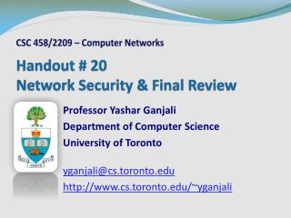 Handout # 20 Network Security & Final Review