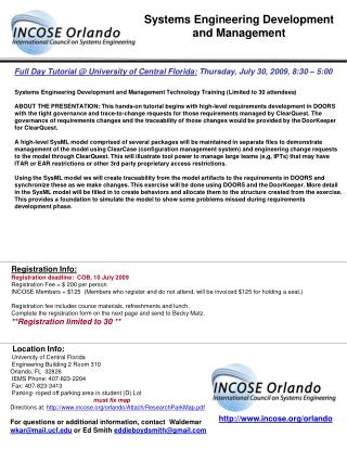 Full Day Tutorial @ University of Central Florida:  Thursday, July 30, 2009, 8:30 – 5:00