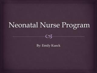 Neonatal Nurse  Program