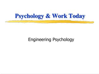 Psychology & Work Today