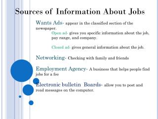 Sources of Information About Jobs