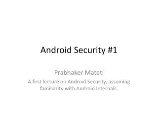 Android Security #1